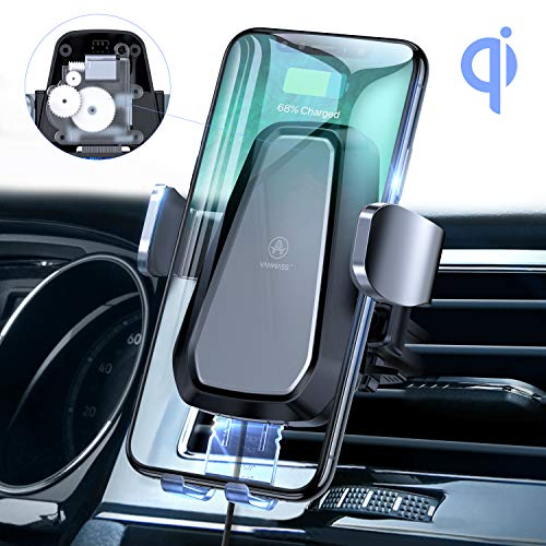VANMASS Motorized Wireless Car Charger Mount, Qi Certified, Air Vent Wireless Charger Holder with 7.5W/10W Qi Fast Charging, Automatic Clamping Wireless Car Charger Mount for All Qi-Enabled Phone
