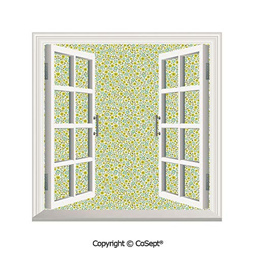 SCOXIXI Open Window Wall Mural,Doodle Style Cute Kids Girls Pattern with Daisy Flower Blooms,for Living Room(25.86x22.63 inch)