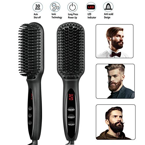 Beard Straightener Brush for Men Premium Hair Straightening Brush and Beard Comb Ionic Quick Hair Styling Comb for Men and Women Electric Heat Brush for Home and Travel (black)