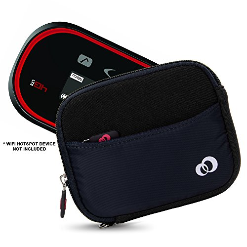 Mini Portable Neoprene Carrying 5.5 inch Case Sleeve for Verizon MiFi Jetpack 4G LTE & AT&T, Sprint, Virgin Mobile, T-Mobile, WiFi HotSpot Modem & Router Mobile + Wrist Strap (Navy Black)