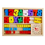 Pack of Learning Digital Alarm Clock Abacus Calculation Box, Comes with 0-9, 10 Numbers of Different Colors and Mathematic Symbol, Abacus and a Clock by Generic