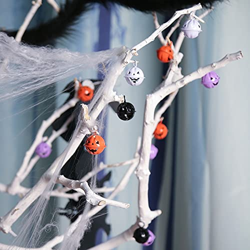 MCPINKY Craft Bells, Halloween Jingle Bells Pumpkin Bells Bulk DIY Bells with a Roll of Ribbon for Halloween Party Festival Decor Gift Wrapping, 40PCS