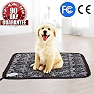 "Pet Heating Pad with Chew Resistant Cord Soft Removable Cover, Waterproof Electric Adjustable Warming Mat/Bed for Dogs &Cats 17.7""x17.7"""