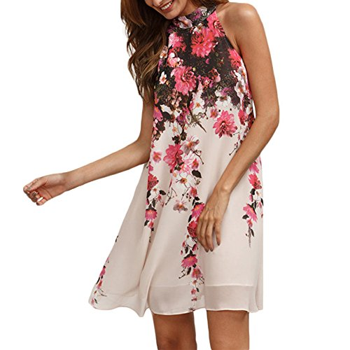 [Chuangxiangt Women's Casual Summer Sleeveless Chiffon Mini Dress Floral Party Dress (X-Large, Pink)] (Neon Party Dresses)
