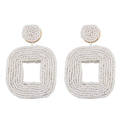 Drop Earrings Bohemian Wire Wrapped Beaded Square Hoop Dangle Statement Earrings ()