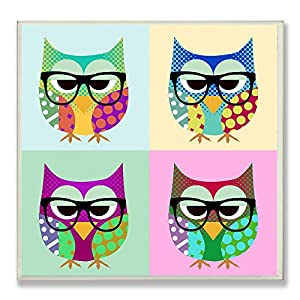 The Kids Room by Stupell Owls Wearing Eyeglasses Square Wall Plaque, 12 x 0.5 x 12, Proudly Made in USA