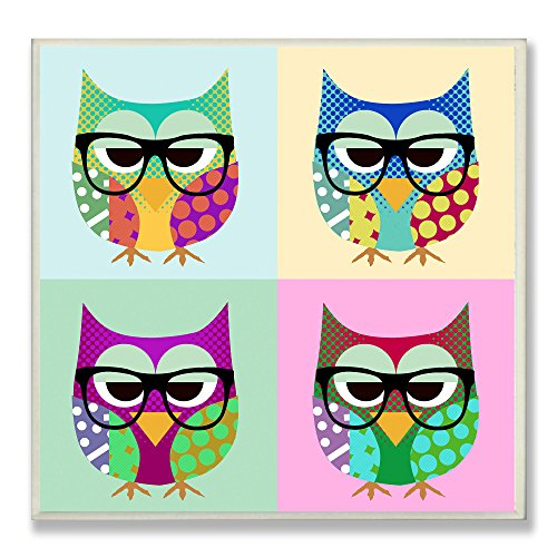 Stupell Home Décor Owls Wearing Eyeglasses Square Wall Plaque, 12 x 0.5 x 12, Proudly Made in - With Girl Eyeglasses