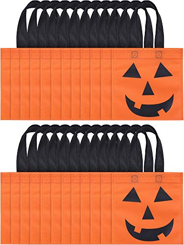Boao 24 Pieces Halloween Tote Bags Jack-O-Lantern Pumpkin Bags Non-Woven Candy Bag Trick or Treat Bags for Halloween Party -