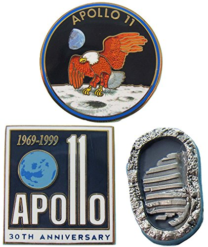 Apollo 11 Pin Trio Mission Logo Footprint Boot Anniversary Official NASA