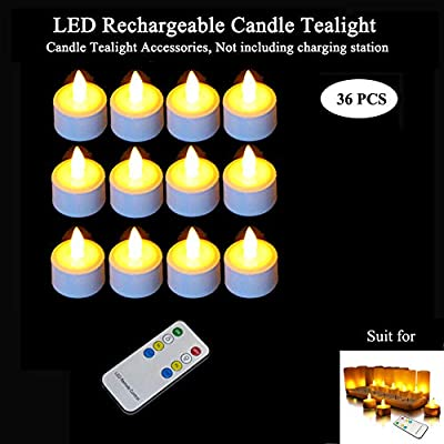 LED Rechargeable Candle Tealight 36pcs &Remote Control 1pcs, Qsportpeak Exclusive Accessory,Valentine Day Decoration, Party Centerpiece, Birthday,Wedding,Festivals,Yellow