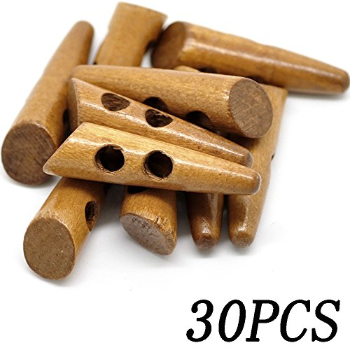 30PC Natural Horn Shape 2 Hole Scrapbooking Sewing Toggle Wood Buttons 50x13mm(2 Inchx1/2 Inch)