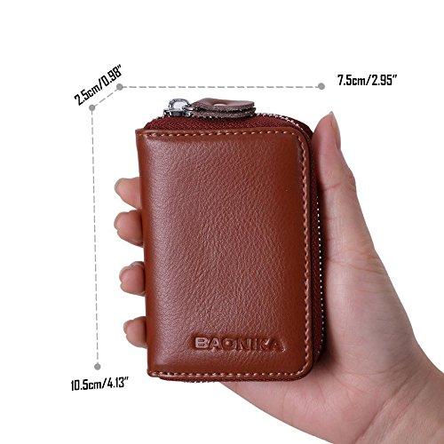 Portafoglio uomo e donna realizzato in vera pelle di vitello con chiusura lampo a giro marrone RFID Portafoglio,tasche porta carte di credito e vano portamonete.