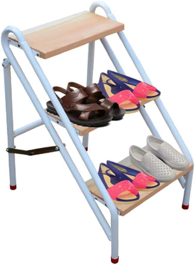 LIYFF-Escaleras plegables 3 Pasos Plegable Taburete de Escalera Multifuncional Casa Portátil Taburete de Paso para el Taburete de Cocina Caravana Home Garden Tool DIY - Blanco: Amazon.es: Hogar