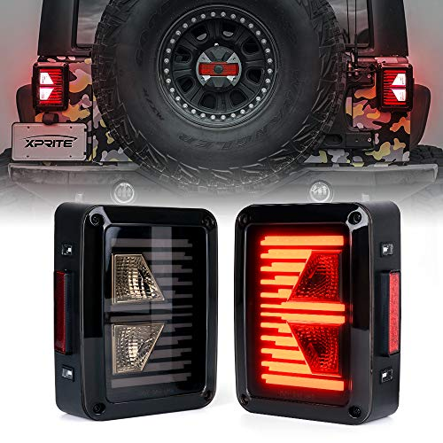 Xprite Linear Series LED Tail Lights w/Turn Signal & Reverse Light Smoke Lens Taillights Assembly for 2007-2018 Jeep Wrangler JK JKU
