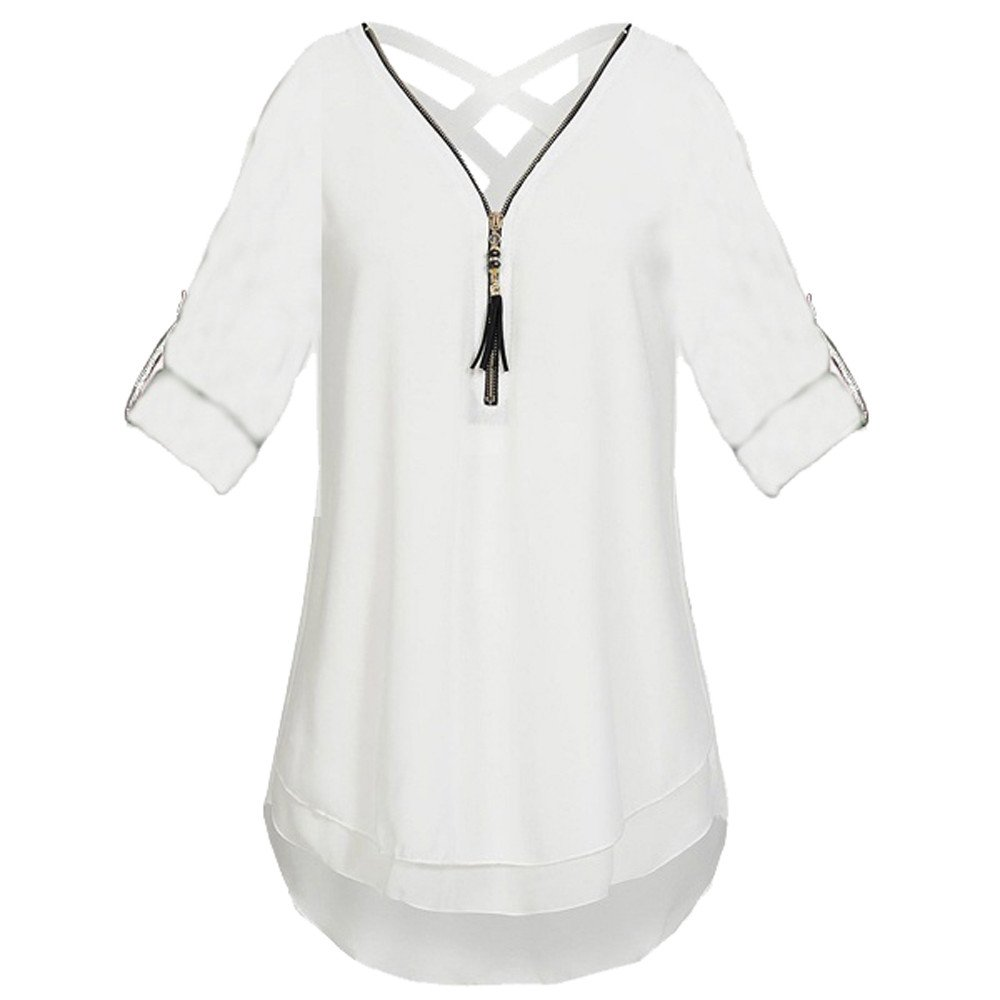 9abe8a2d9795 OrchidAmor Womens V Neck Zipper Solid Chiffon T-Shirts Casual Loose Tops  Tunic Blouse Clothes Folding Board at Amazon Women's Clothing store: