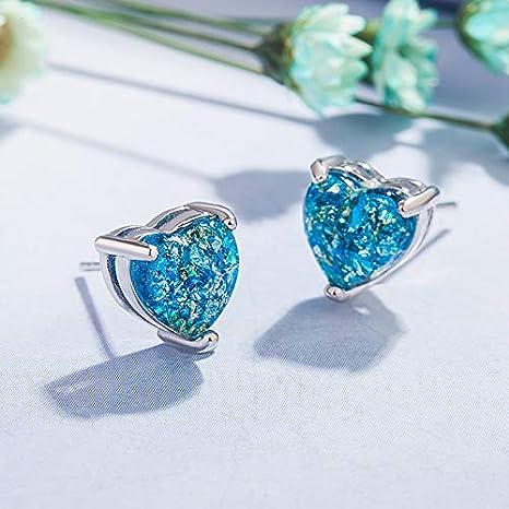 RVXZV Pendientes en Forma de corazón de Moda para Mujer Joyas de Plata 925 Blanco Azul Opal Topacio Simple Oreja Studs Fiesta
