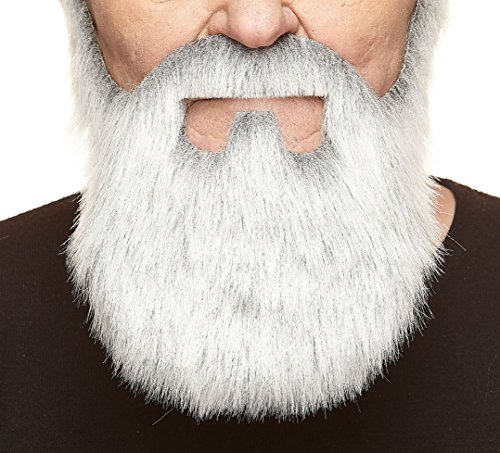 Mustaches Self Adhesive, Novelty, Old Merchant Fake Beard, False Facial Hair, Costume Accessory for Adults, Gray with White Color -