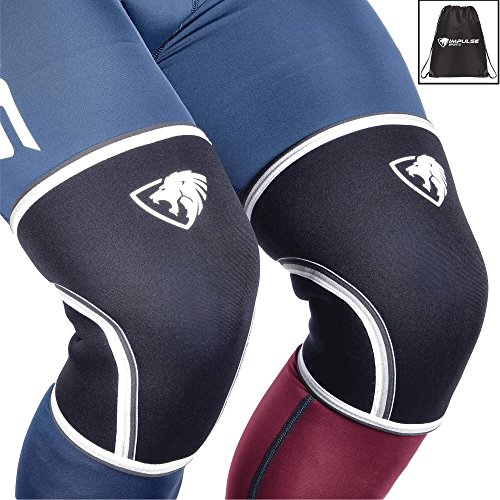 7mm Knee Sleeves: Knee Compression Sleeves for Powerlifting, Squats, Bodybuilding, Weightlifting – Superior Support and Range of Motion – Knee Sleeves for Men and Women - By Impulse (Women Range)