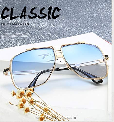señoras Sol de los de de Vendimia la Las de Las Marcos de Gafas Gafas de de de los Gafas Sol los Marcos vidrios Manera Hombres Blue la de Claro Color Metal de de Sol los del 5UqRwaWa