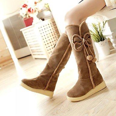Boots Women's 3 1 Winter 1in Casual amp;xuezi PU Gll Comfort Fall Black Heel 4in Flat Yellow Black Brown qEfHn5w
