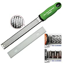 EcoJeannie ZT0001 Professional Hand Held Cheese Grater Lemon Zester for Very Fine Shavings, Heavy Duty, Commercial Grade, Non-Slip Easy-Grip Handle, High Quality Stainless Steel