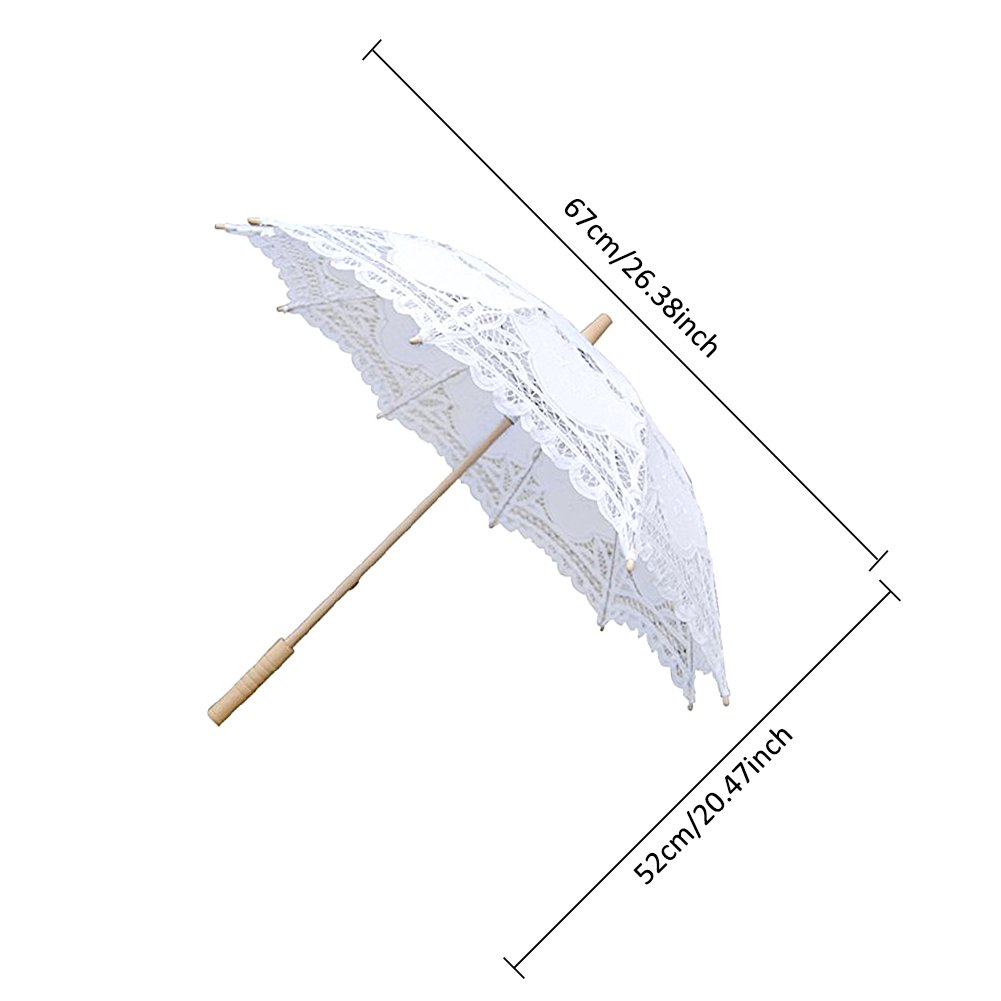 Lace Embroidery Wedding Umbrella Wooden Handle for Wedding Decoration(W) by Johlycao (Image #3)