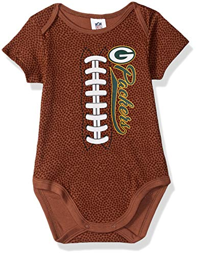 NFL Green Bay Packers Unisex-Baby Football Bodysuit, Brown, 6-12 Months - Green Bay Packers Brown Football