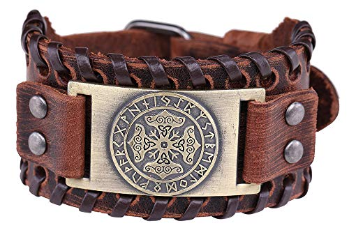 Vintage Amulet Nordic Thor's Hammer Mjollnir Viking Runes Charm Brown Leather Bracelet Gift Jewelry (Brown Wristband, Antique -