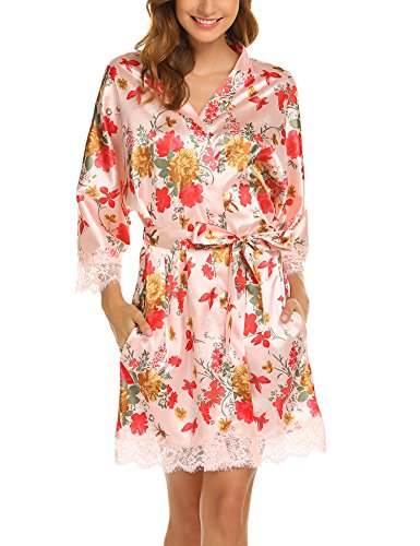 Hotouch Women's Bridesmaid Robes Short Peacock Blossoms Kimono Robe Dressing Gown Floral Robes