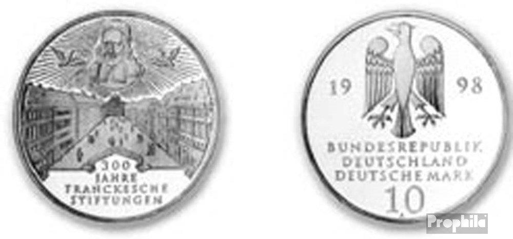 BRD (BR.Deutschland) Jägernr  470 1998 A Stgl. unzirkuliert Silber 1998 10 DM Francke (Münzen für Sammler)