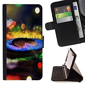 DEVIL CASE - FOR Samsung Galaxy Note 3 III - Peacock Feather Colorful Bright Bling Shiny - Style PU Leather Case Wallet Flip Stand Flap Closure Cover