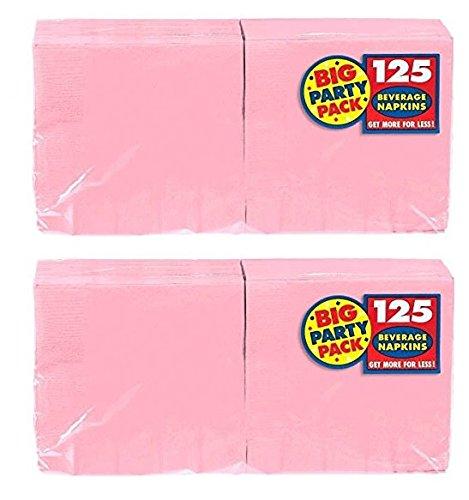 Amscan Big Party Pack 125 Count Beverage Napkins, New Pink (Mega 2 pack)