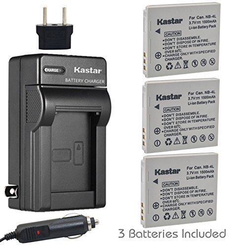 Kastar Battery (3-Pack) and Charger Kit for Canon NB-4L, CB-2LV work with Canon PowerShot SD40, SD30, SD200, SD300, SD400, SD430, SD450, SD600, SD630, SD750, SD780 IS, SD940 IS, SD960 IS, SD1000, SD1100 IS, SD1100 IS, SD1400 IS, TX1, ELPH 100 HS, ELPH 300 HS, ELPH 310 HS, ELPH 330 HS, VIXIA mini Cameras
