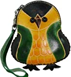 Leather Change Purse,Credit Cards Holder,Green Baby Penguin Shape,Zipper Closure