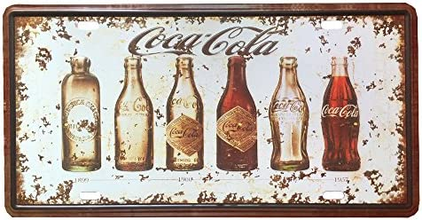 IPEKOO Cartel de chapa, diseño de evolución de botellas de Coca Cola, estilo retro, para colgar en la pared