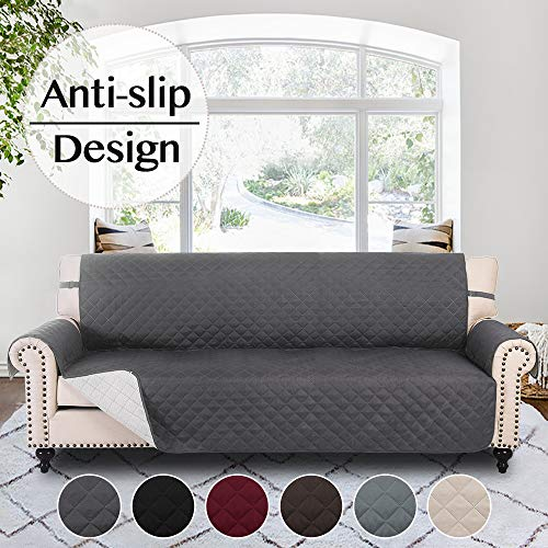 RHF Anti-slip Sofa Cover for 3 Cushion Leather Sofa, Slip-Resistant Furniture Protector(Couch Cover for Dogs)-Features Anti-slip Pad and Adjustable Elastic Strap (Sofa: Dark Grey) (Cushion Leather Covers)