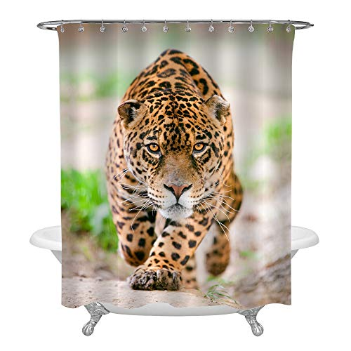 MitoVilla Gold Leopard Shower Curtain, Large Cheetah Male Performing an Attack 3D Print Nature Wildlife Theme, Safari Animals Bathroom Accessories Set with Hooks, Polyester Fabric 72 x 72 Inches Long