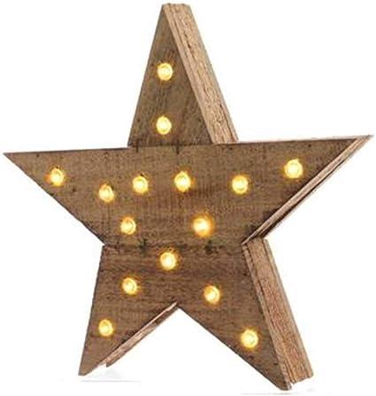 estrellas de madera con luz