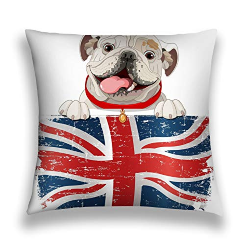 zexuandiy Cushion Case - Decorative Square Throw Pillow Cover Cushion Case Pillowcase with Hidden Zipper Closure - 18x18 inches, Twin-Sided Print, English Bulldog Over British Flag (Difference Between Turtle And Tortoise In English)