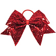 "HipGirl Boutique Girls Women 6"" Jumbo Large Cheer Bow Elastic Hair Tie Ponytail Holder for High School College Cheerleading"