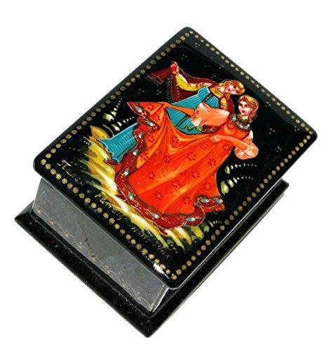 Russian Lacquer Miniatures (Dancers Russian Women Girls Dancing Hand Painted Palekh Miniature Art Lacquer Box)