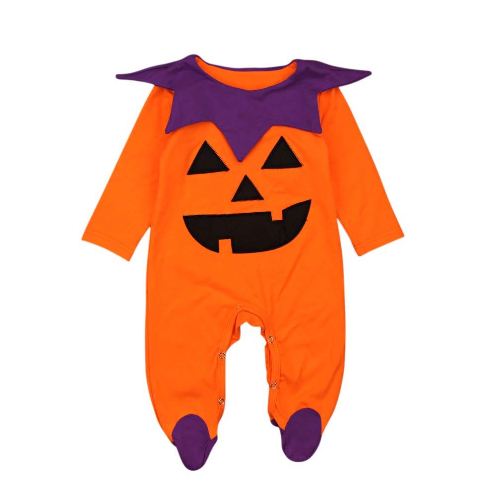 0-24 Mois Pyjama Bébé Fille Garçon Combinaison Manche Longue Grenouillère Toussaint Citrouille Costume Halloween