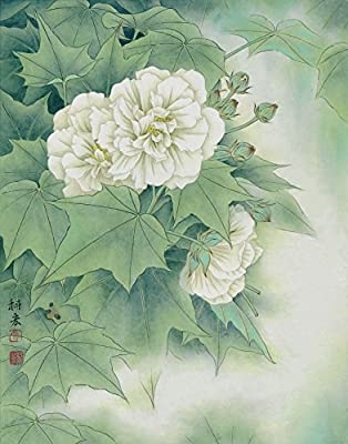 White Peonies_3 Oil Painting Reprodution. Based on Famous Traditional Chinese Realistic Painting. (Unframed and Unstretched).