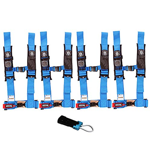 (Pro Armor A114230VB P151100 Voodoo Blue 4-Point Harness 3 Inch Straps, 4 Pack RZR UTV Seat Lap Belt with Bypass Clip)