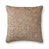 Loloi  Accent  Pillow  PSETP0489BESIPIL3  Beige/Silver    22''  x  22''  Linen  |  Cotton  Cover  with  Polyester  Fill