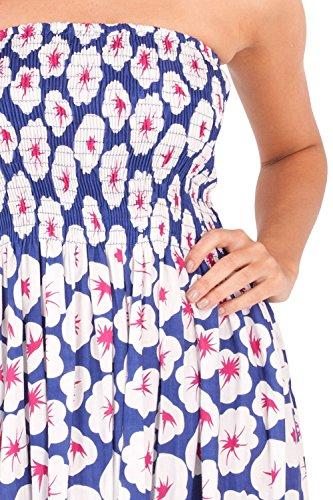 Traje de neopreno para mujer Vibrant 100% algodón e instrucciones para hacer vestidos ajustados Tropical de frases en Inglés con diseño de playa Holiday, azul o verde Blue With White Flowers