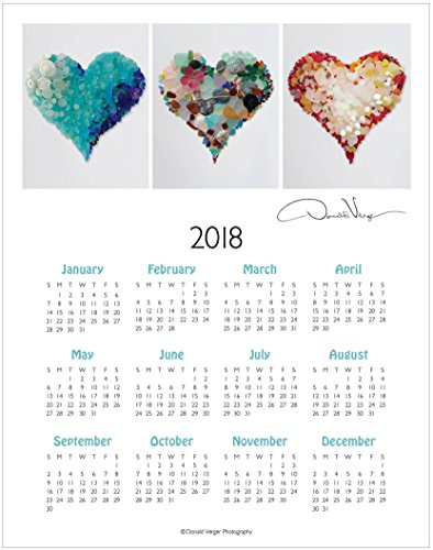 2018, Three Sea Glass Hearts One Page, Fine Art Wall Calendar. 11x14. Great For Framing. Best Quality Birthday, Christmas & Valentine's Day Gifts for Women, Men & Kids. Unique Idea for Him or (Great Birthday Gifts)