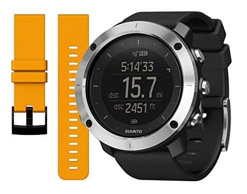 Suunto Traverse GPS Watch Black and Amber Replacement Band Bundle