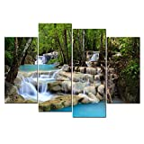 Cao Gen Decor Art-S48748 4 Panels Wall Art Waterfall Painting on Canvas Stretched and Framed Canvas Paintings Ready to Hang for Home Decorations Wall Decor