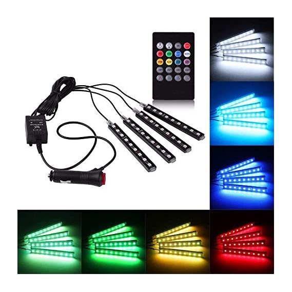 Kardeck Rally R000246 4X 9 LED RGB Car Interior Decorative Light Floor Atmosphere Strip Light Car Under Dash Interior LED Lighting Kit with Sounds Activated Wireless IR Remote Control (6W, Multicolor)
